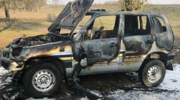 В Одесской области на ходу загорелась служебная машина полицейских